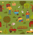 cute farm seamless pattern with tractors carrots vector image vector image