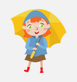 cute girl with a yellow umbrella vector image