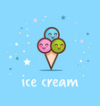 cute ice cream cone cartoon comic character vector image