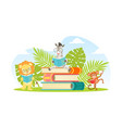 cute jungle animals in glasses sitting on pile of vector image vector image