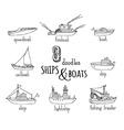 doodles nautical vessel icons set vector image