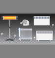 electric oil radiator heater with fan panel of vector image