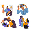 engineering and industry workers with projects vector image vector image
