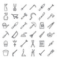 farm gardening tools icon set outline style vector image