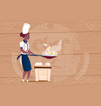 female african american chef cook frying eggs vector image vector image