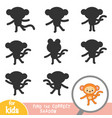 find correct shadow game for children monkey vector image vector image