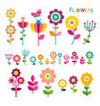 flat flower colorful spring flowers icons vector image vector image