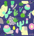 floral seamless pattern with cactuses succulents vector image