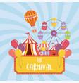 fun fair carnival ferris wheel tent booth air vector image