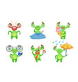 funny little monster with various emotions set vector image vector image