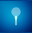 golf ball on tee icon isolated on blue background vector image vector image
