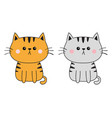 Gray orange red cat sad head face silhouette set
