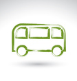 Hand drawn green bus icon brush drawing passenger vector image