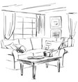 hand drawn room interior sketch sofa table vector image vector image