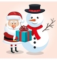 happy snowman and snta claus with blue gift ribbon vector image