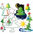 icons and logos christmas trees vector image