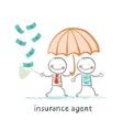 insurance agent protects human umbrella and vector image