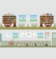 interior of library and classroom vector image vector image