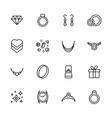 jewelry and bijouterie icon simple symbols set vector image