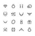 jewelry and bijouterie icon simple symbols set vector image