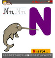 letter n with cartoon narwhal vector image vector image