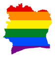 lgbt flag map of cote divoire rainbow map of cote vector image