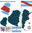 map of entre rios province argentina vector image vector image