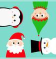 merry year elf santa claus snowman vector image vector image