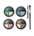 MultiColored Eye Shadows with Makeup Applicators vector image vector image