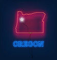 neon map state of oregon on dark background vector image vector image
