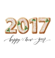 New Year 2017 in shape of gingerbread number as vector image