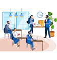 office staff at workplace interior space vector image vector image