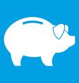 piggy icon white vector image vector image