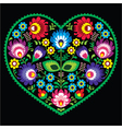 Polish folk art art heart with flowers - Wycinanki vector image