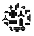 road elements parts icons set flat style vector image