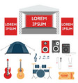 set of festival or rock music concert elements vector image vector image
