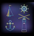 set of marine neon icons ship lighthouse anchor vector image