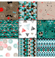 Set of seamless colorful retro patterns Hipster vector image vector image