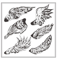 Set of wings in vintage style vector image vector image