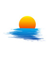 sun and blue sea waves vector image vector image