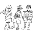 tourist group cartoon vector image vector image
