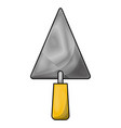 trowel flat icon in colored crayon silhouette vector image vector image