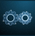 two gears low poly industrial machine cog vector image