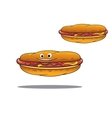 Two hotdogs with mustard and ketchup vector image