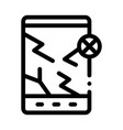 wrecked tablet icon outline vector image vector image