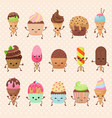 funny cupcake and ice cream dessert vector image