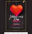 3d hearts and luxurious golden frame on black vector image