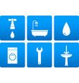 bath objects on blue background vector image vector image