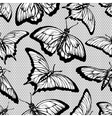 Black lace seamless pattern with butterflies and vector image