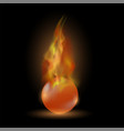 burning red sphere ball on fire flame vector image vector image